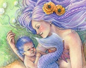 Mother and Baby Mermaid Art Print - Beach with Seashells and Flowers - Mother's Day Art - Nursery Wall Decor - sarambutcher