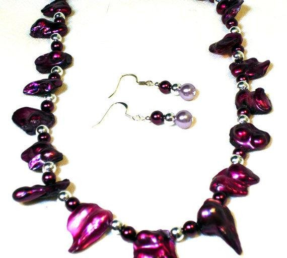 Purple Blister Pearl Statement Necklace and Earrings Set