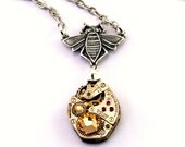 Steampunk Necklace - Beautiful Bee and Clockwork Design with Yellow Golden Topaz Swarovski Crystals - PROMPTLY SHIPPED - Steampunk Jewelry