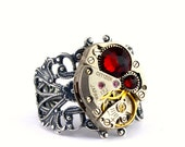 Steampunk Ring - Gorgeous Clockwork Design with Siam Red Swarovski Crystal - PROMPTLY SHIPPED - Steampunk Jewelry by London Particulars