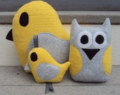 Yellow Gray Bird Gift Set - Yellow Grey Owl and Bird - Owl and Bird Plushies - Owl and Bird Gift Set - tzburps