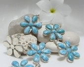 Larimar Wholesale pendants - 6 beautiful mixed blue Larimar summer daisies - W - LarimarAndSilver