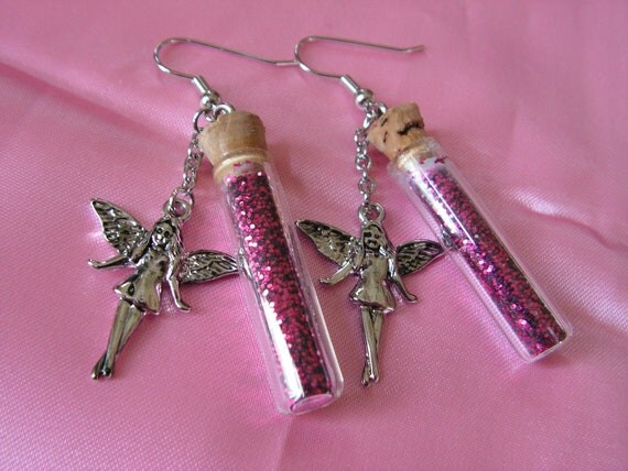 Fairy Earrings with Pink Bottled Glitter Black Friday Free Shipping