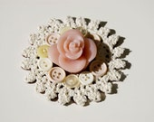 Upcycled Vintage Heart Circle Rose Crochet Doily Felt Brooch
