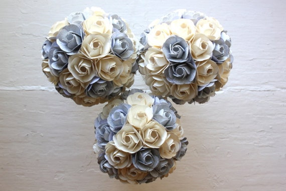 Paper Flower Bouquet, 3 Bridesmaid Bouquets, Ivory, Silver, Paper Rose