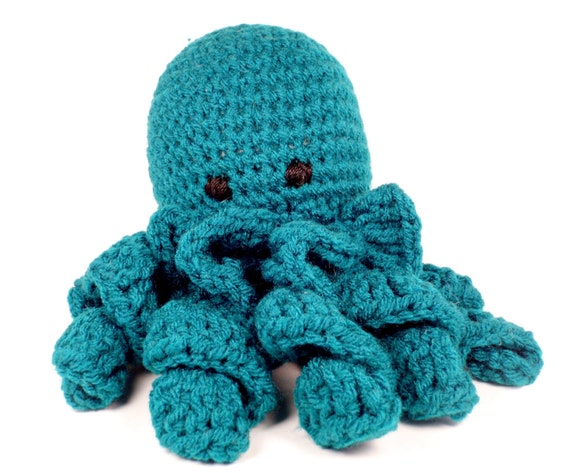 children's toy octopus in teal handmade