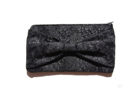 Handmade Black Lace Bow Clutch