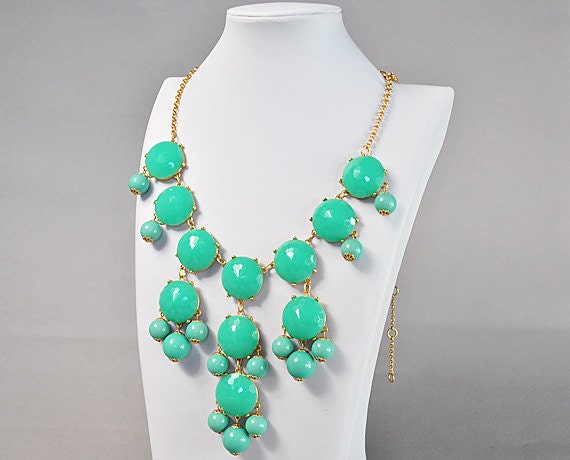 Bubble Necklace, Turquoise Color Necklace, Light Blue Necklace,Statement Necklace (FN0508-Light Blue)