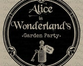 Alice In Wonderland Drink Me Garden Party Tea Party Digital Download for Iron on Transfer Fabric Pillows Tea Towels DT985 - DigitalThings