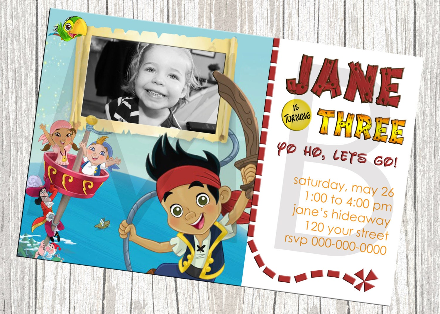 Jake And The Neverland Pirates Birthday Invitation Template