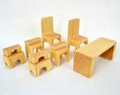 Organic Wooden dolls furniture set - 11 items in one - PocketsOfArt