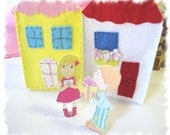 Travel Toy, Wooden Dolls, Waldorf Toy, Felt Cottages - MelsCreativeWishes
