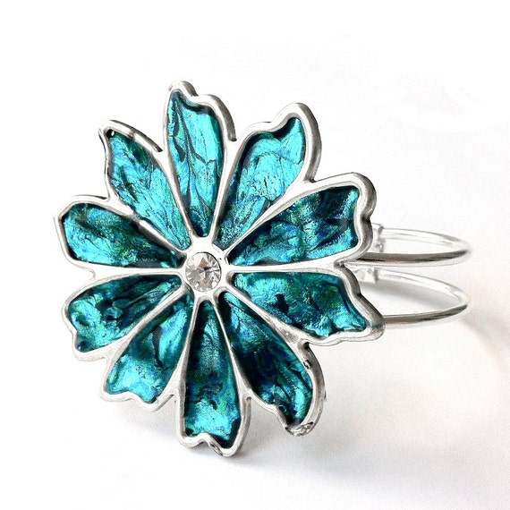 Teal Bracelet, Hinged Bangle, Teal Jewelry, Statement Jewelry, Silver Flower Bracelet, Cute Bracelet, Silver Bracelet