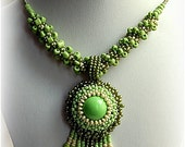 Beaded green necklace, fall colors, autumn fashion, OOAK