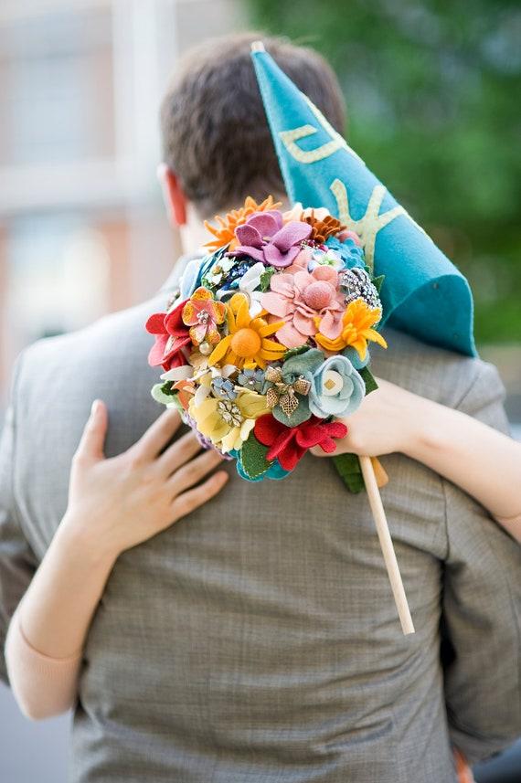 Custom Felt Flower & Brooches Wedding Bouquet