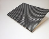 5 x 7 Blank Notebook Journal Sewn Spine - Black with Cream Polka Dots - ManipulatedPaper