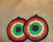 Crocheted Dreamcatcher Earrings in Rasta Colors w/ Black trim
