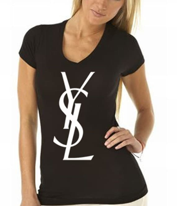 Ysl logo womens black t shirt on the hunt for Who sells ysl t shirts