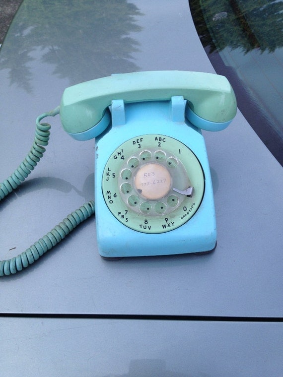 Rotary Dial Two-tone blue Telephone