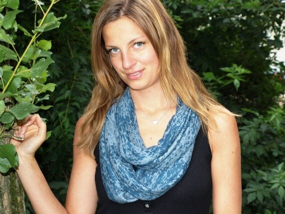 Blue Infinity Scarf Jersey Womens Neck Scarf