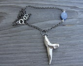 Shark Tooth and Blue Kyanite Gunmetal Chain Necklace