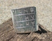 Silver Talisman Ring with Etched Arabic Script and Symbols