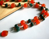 Carnelian Necklace, Burnt Orange Gems, Navy Blue Quartz, Sterling Silver Beaded Gemstone Jewelry