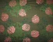 Fabric by Yard Olive Green Cotton Hand Printed, Silk Screened with green and metallic copper