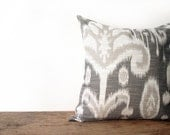 grey ikat down pillow, tribal inspired, ethnic print - eclu