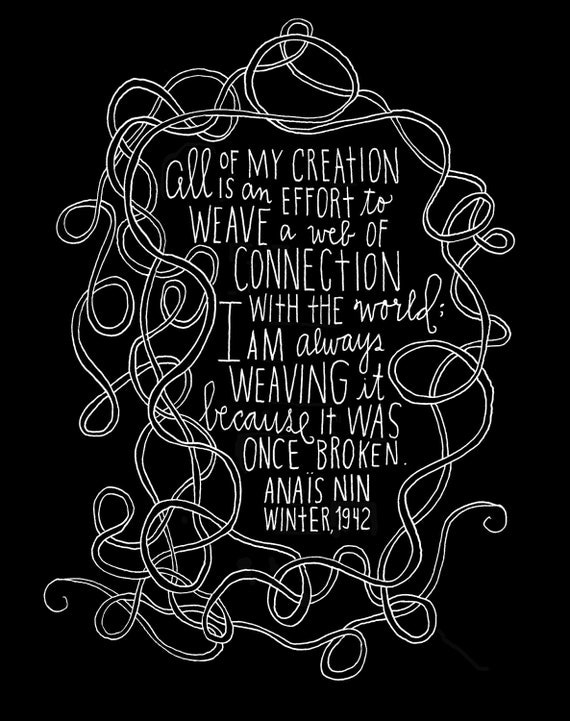 Anais Nin Quote - Web of Connection Archival Print - Standard Size