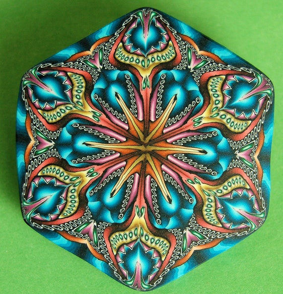 Hexagon Polymer Clay Kaleidoscope Pin / Brooch