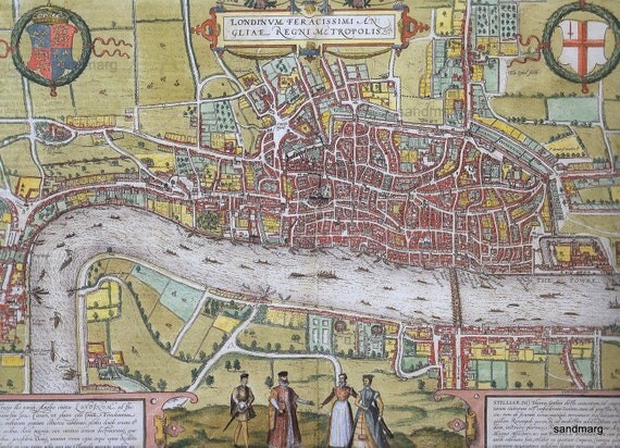 Historical Map of Mid-Tudor London Frans Hogenberg