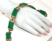 Vintage Green Intaglio Link Bracelet Warrior Knights - GeneralWhimsy2