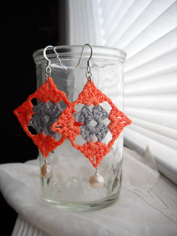 granny square earrings in coral and gray with a freshwater pearl