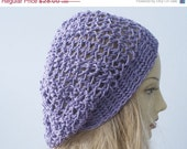 Cotton Slouch Hat,  Boho Lace Fashion,  Beret,  Purple Crocheted Cloche, Pastel  Fashion, All Season - beadedwire