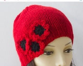 Red Poppy Knit  Hat,  Flower Cloche, Wool Slouchy Hat - beadedwire