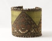 Ribbon Cuff Bracelet French Brocade Pyrite Olive Green Red Brass Statement - LoveActuallyJewelry