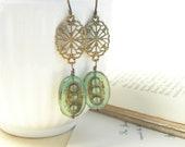 Sage green glass earrings antiqued brass filigrees summer fashion - pamelasjewelry