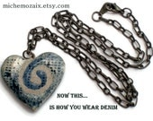 Blue Denim Twisted Spiral REVERSIBLE Clay Heart Pendant Necklace