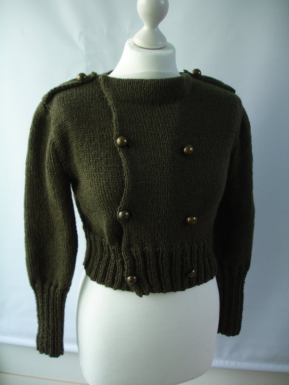 Custom work - Twilight - Breaking Dawn - inspired army green bolero cardigan in military look