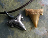 Shark Tooth Necklace Prehistoric Fossil Shark Tooth Necklace Silver Men's Necklace Rustic Unisex Necklace Shark Week Necklace - newhopebeading