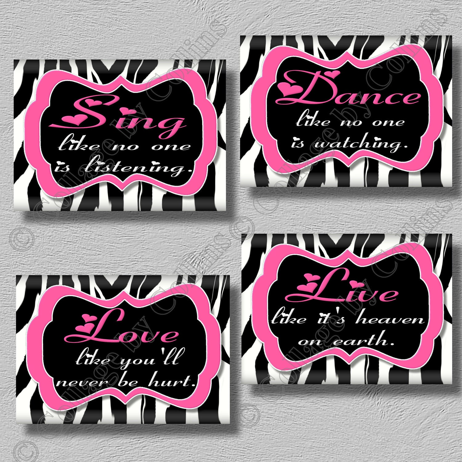 Awesome Art Girls Room Wall Decor Hot Pink Zebra Print Dance Sing Live Love By  Collagebycollins
