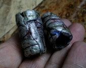 2 Primitive Tribal Dread lock Beads polymer/ in shimmering blue/ silver/ metalic/ medium size/ unisex