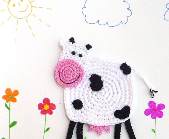Crochet Cow Coaster DIY, Pattern