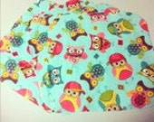 Spring Owls- Set of 4 wipes - flannel and OBV - SOFT - 8x8 size