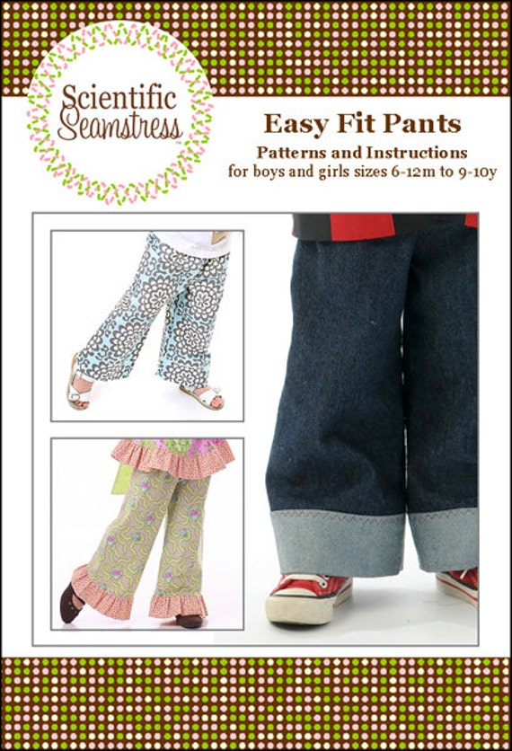 Easy-Fit Pants for Girls and Boys, Boutique Paper Pattern, by the Scientific Seamstress
