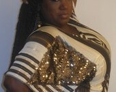 Rhonda - Posh N Petals Slinky Striped Gold Metallic Sequined  Embellished Blouse - XL  - 1X Plus Size