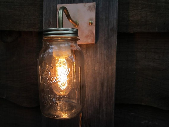 Mason Jar Sconce Light - Copper Wall Mount Plug In Sconce - Vintage Clear Canning Jar with Copper Wall Plate and Long Cord With Plug