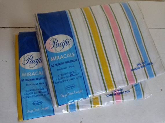 PAIR...Vintage 1960's Striped Bed Sheets Flat & Fitted NIP Unused