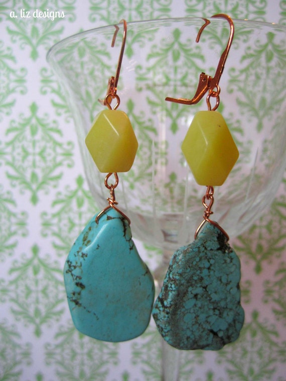 Olive Jade and Turquoise Drops